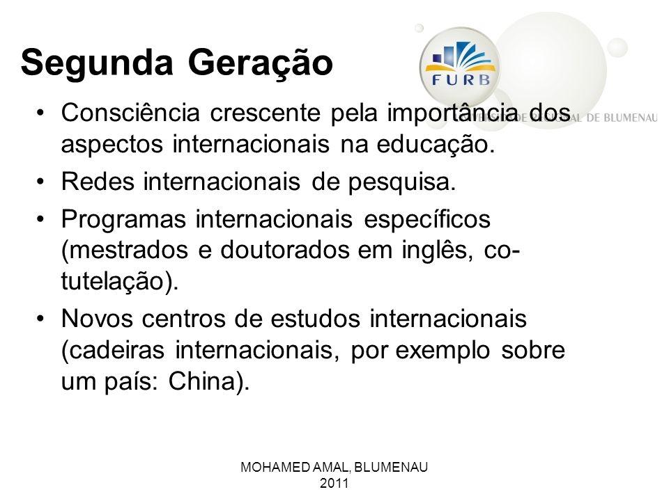 Segunda Geração Consciência crescente pela importância dos aspectos internacionais na educação. Redes internacionais de pesquisa.