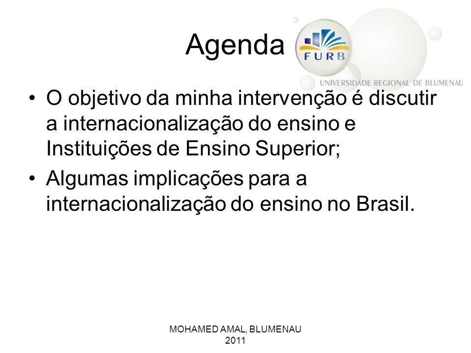 Agenda O objetivo da minha intervenção é discutir a internacionalização do ensino e Instituições de Ensino Superior;