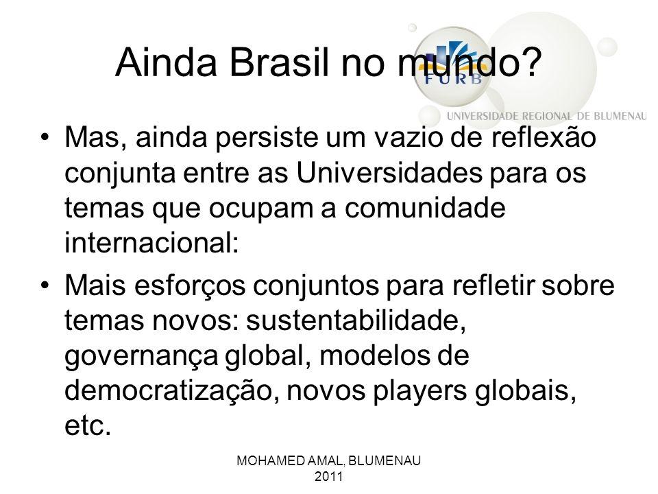 Ainda Brasil no mundo Mas, ainda persiste um vazio de reflexão conjunta entre as Universidades para os temas que ocupam a comunidade internacional: