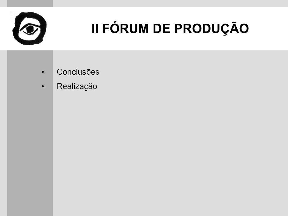 II FÓRUM DE PRODUÇÃO Conclusões Realização