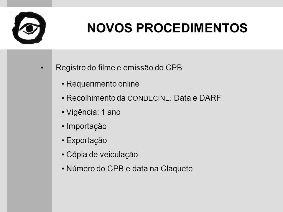 NOVOS PROCEDIMENTOS Registro do filme e emissão do CPB