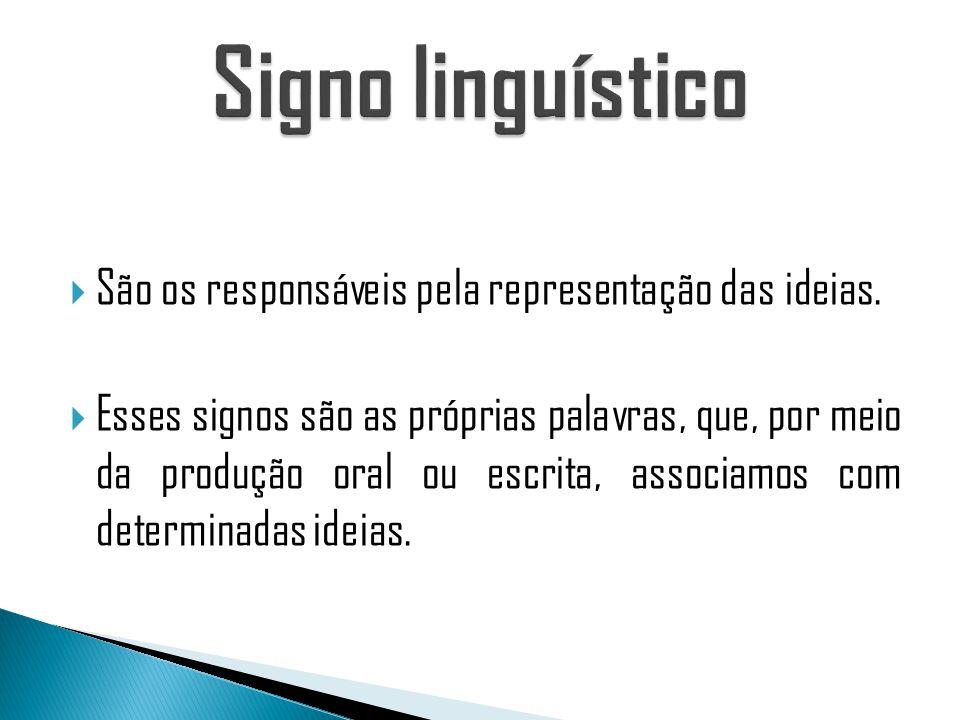 Signo linguístico São os responsáveis pela representação das ideias.
