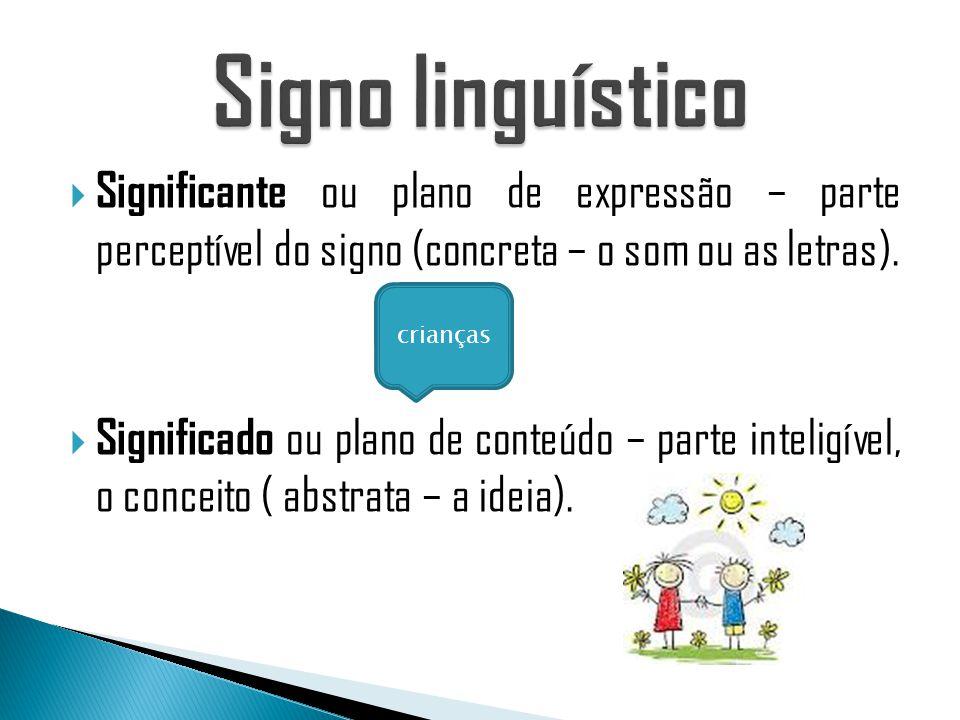 Signo linguístico Significante ou plano de expressão – parte perceptível do signo (concreta – o som ou as letras).
