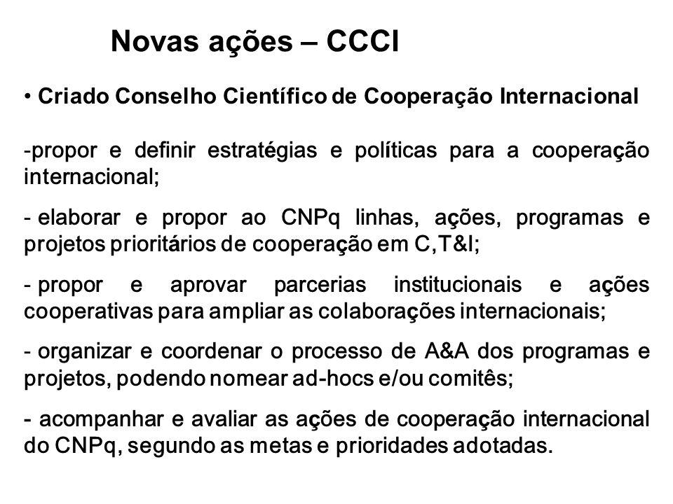 Novas ações – CCCI Criado Conselho Científico de Cooperação Internacional. propor e definir estratégias e políticas para a cooperação internacional;