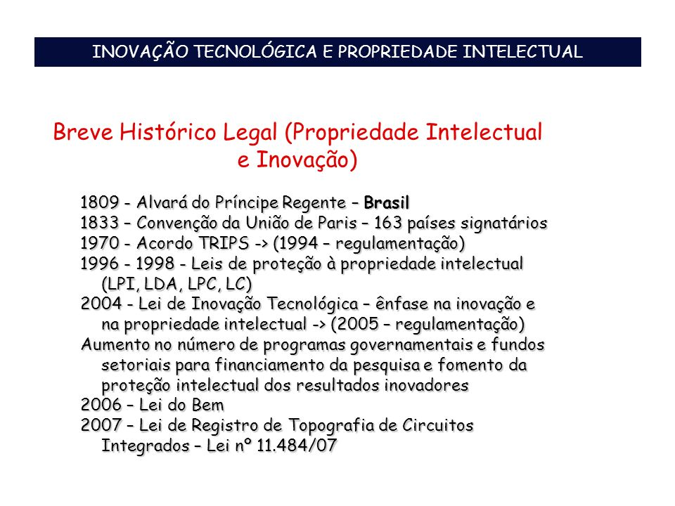 Breve Histórico Legal (Propriedade Intelectual e Inovação)