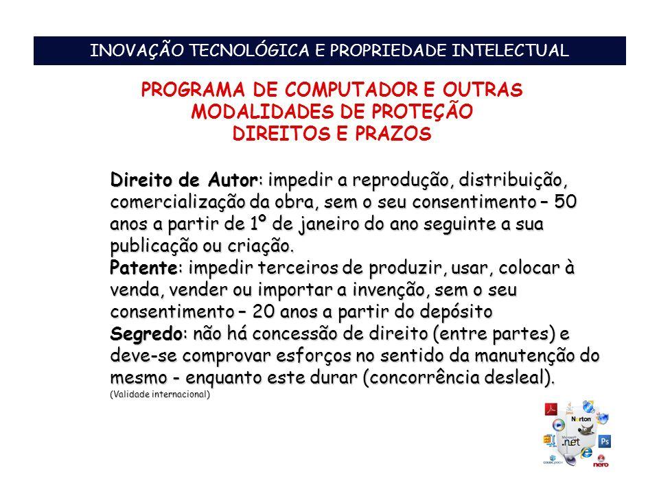 PROGRAMA DE COMPUTADOR E OUTRAS MODALIDADES DE PROTEÇÃO
