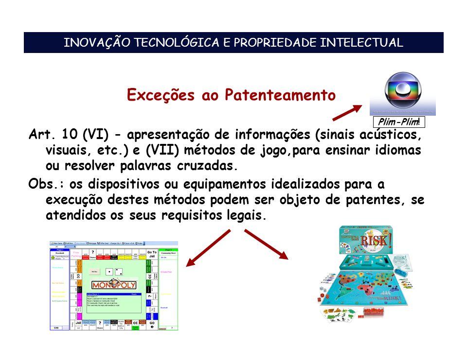 Exceções ao Patenteamento