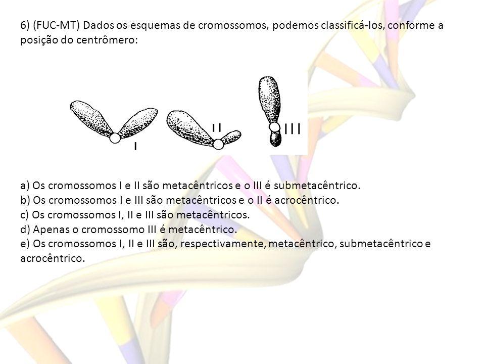 6) (FUC-MT) Dados os esquemas de cromossomos, podemos classificá-los, conforme a posição do centrômero: