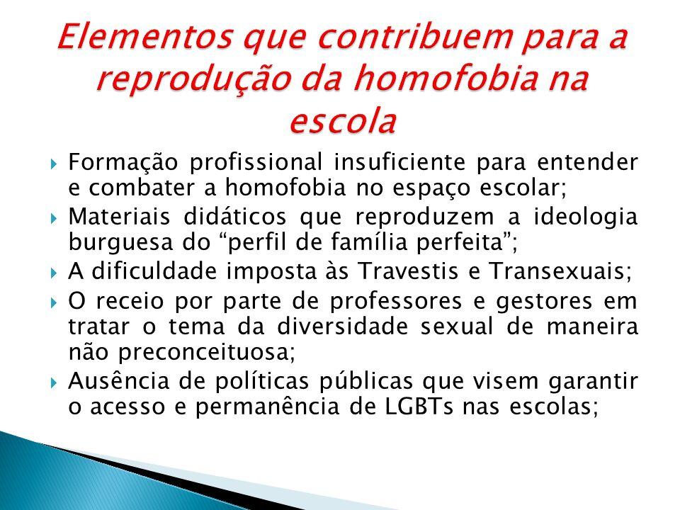 Elementos que contribuem para a reprodução da homofobia na escola