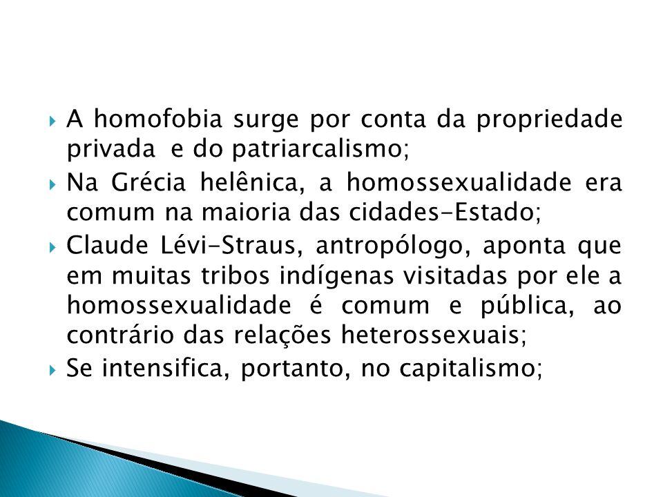 A homofobia surge por conta da propriedade privada e do patriarcalismo;