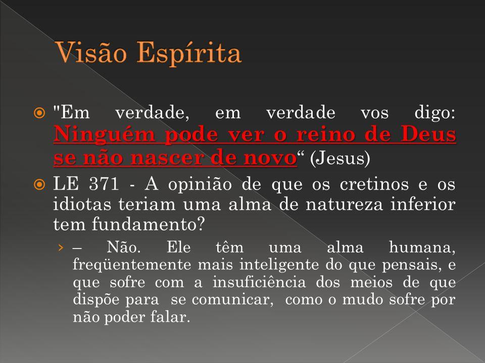 Visão Espírita Em verdade, em verdade vos digo: Ninguém pode ver o reino de Deus se não nascer de novo (Jesus)