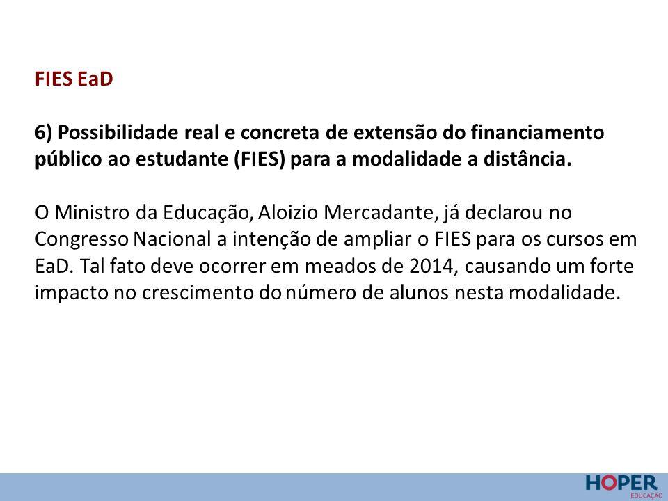 FIES EaD 6) Possibilidade real e concreta de extensão do financiamento público ao estudante (FIES) para a modalidade a distância.