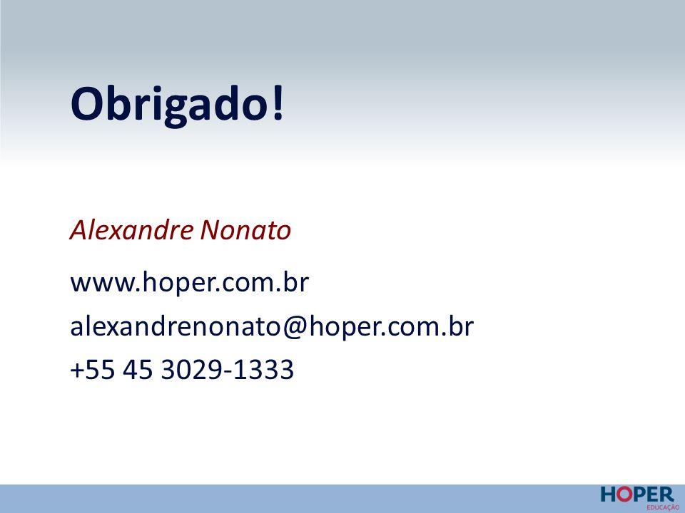 Obrigado! Alexandre Nonato www.hoper.com.br