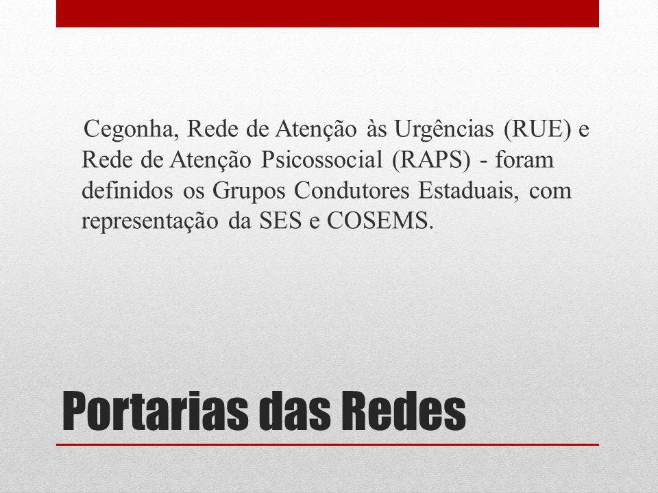 Cegonha, Rede de Atenção às Urgências (RUE) e Rede de Atenção Psicossocial (RAPS) - foram definidos os Grupos Condutores Estaduais, com representação da SES e COSEMS.