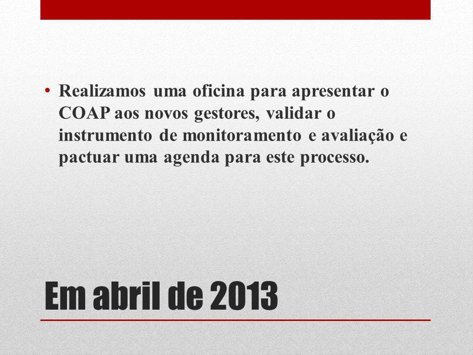 Realizamos uma oficina para apresentar o COAP aos novos gestores, validar o instrumento de monitoramento e avaliação e pactuar uma agenda para este processo.
