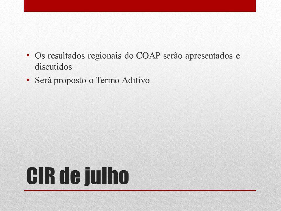 Os resultados regionais do COAP serão apresentados e discutidos