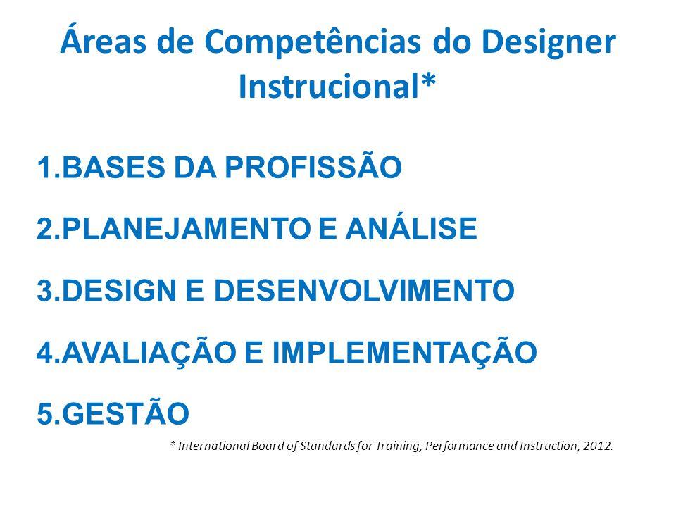 Áreas de Competências do Designer Instrucional*