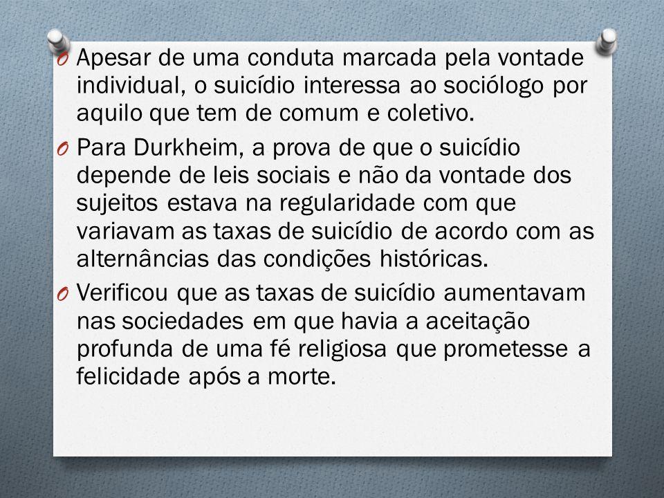 Apesar de uma conduta marcada pela vontade individual, o suicídio interessa ao sociólogo por aquilo que tem de comum e coletivo.