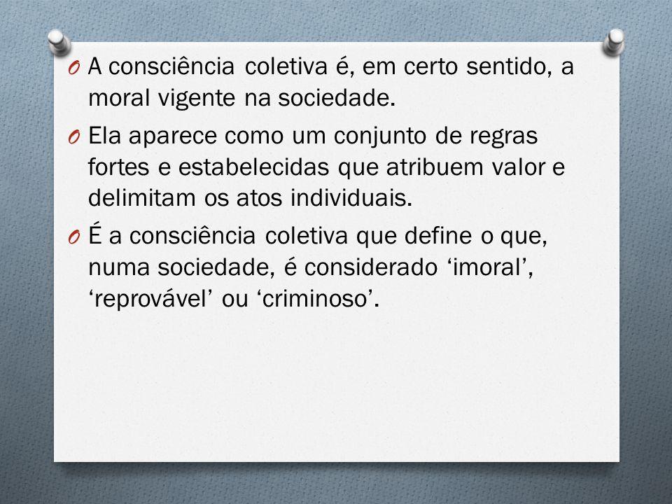 A consciência coletiva é, em certo sentido, a moral vigente na sociedade.