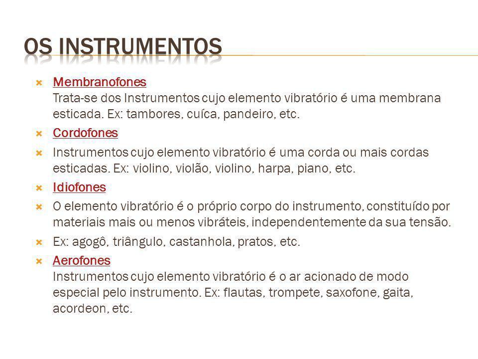 Os instrumentos Membranofones Trata-se dos Instrumentos cujo elemento vibratório é uma membrana esticada. Ex: tambores, cuíca, pandeiro, etc.