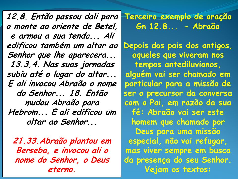Terceiro exemplo de oração