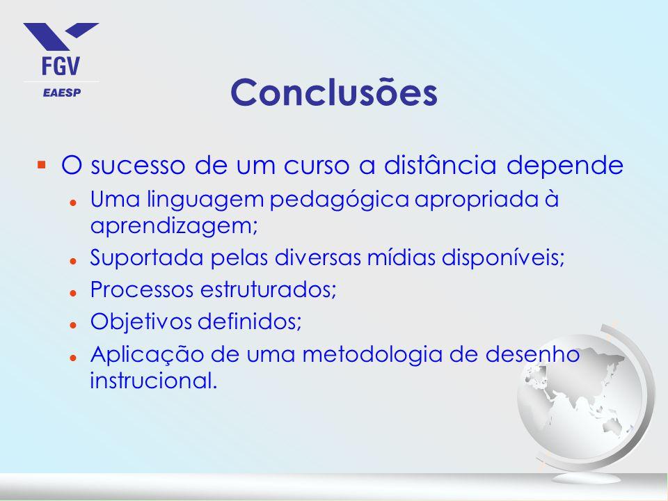 Conclusões O sucesso de um curso a distância depende