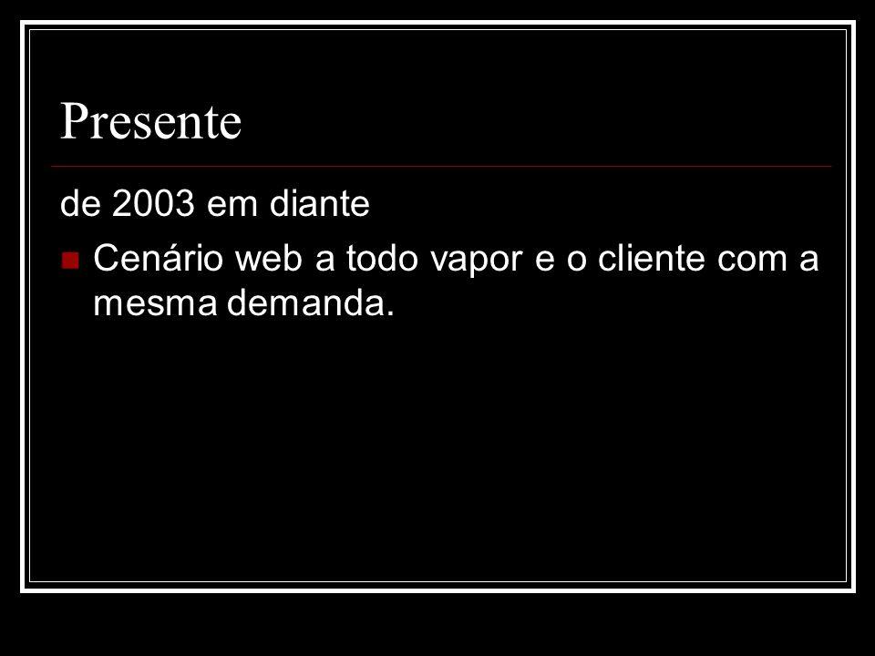 Presente de 2003 em diante Cenário web a todo vapor e o cliente com a mesma demanda.