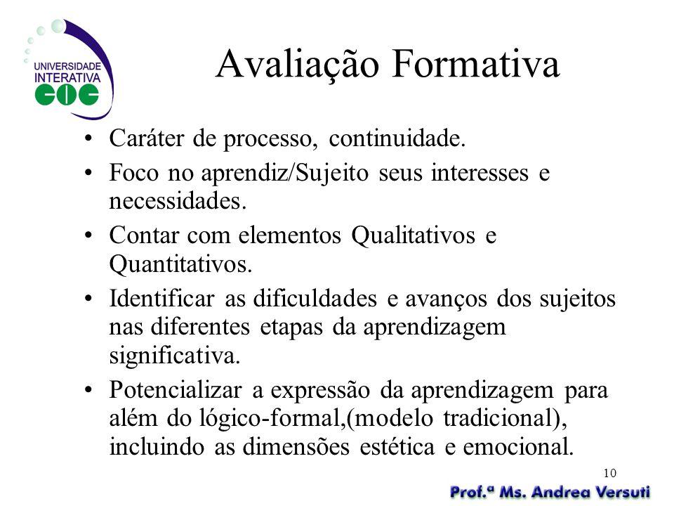 Avaliação Formativa Caráter de processo, continuidade.