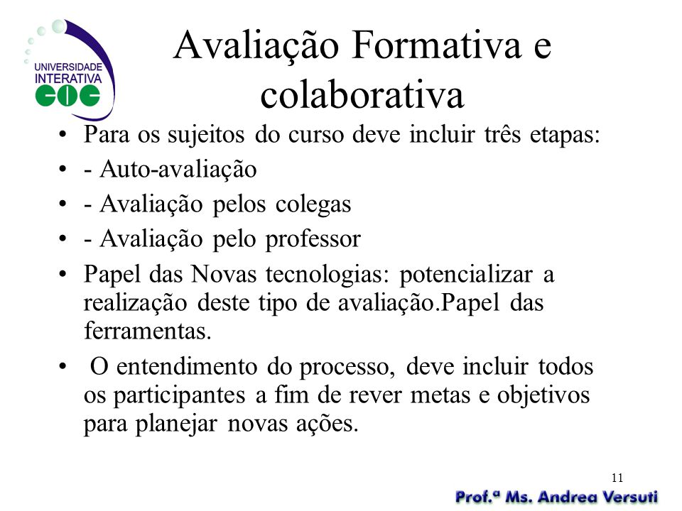 Avaliação Formativa e colaborativa
