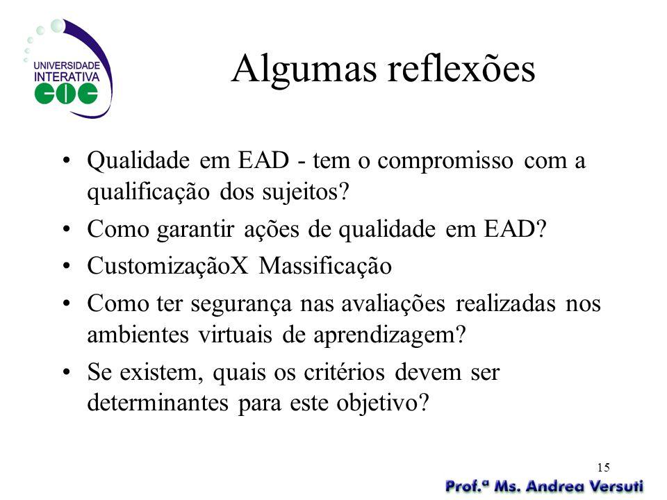 Algumas reflexões Qualidade em EAD - tem o compromisso com a qualificação dos sujeitos Como garantir ações de qualidade em EAD