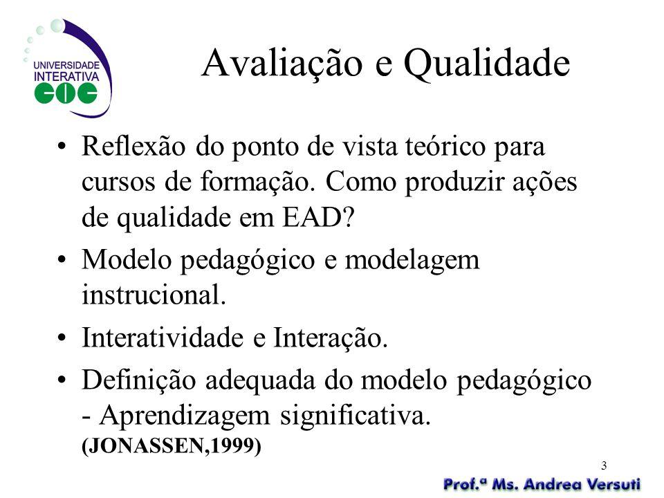 Avaliação e Qualidade Reflexão do ponto de vista teórico para cursos de formação. Como produzir ações de qualidade em EAD