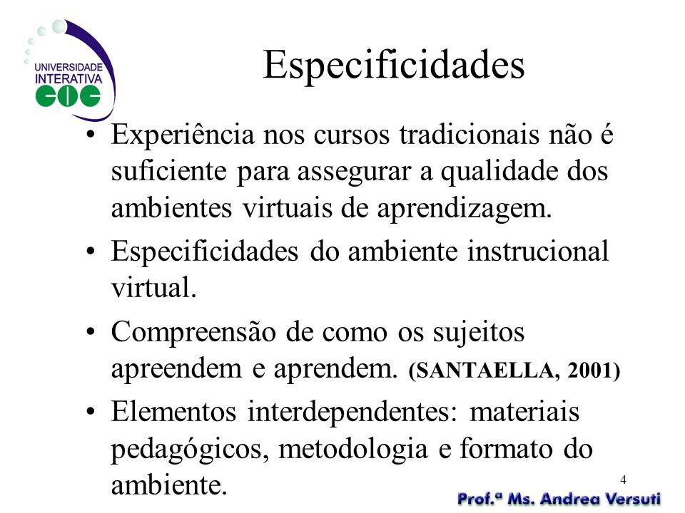 Especificidades Experiência nos cursos tradicionais não é suficiente para assegurar a qualidade dos ambientes virtuais de aprendizagem.