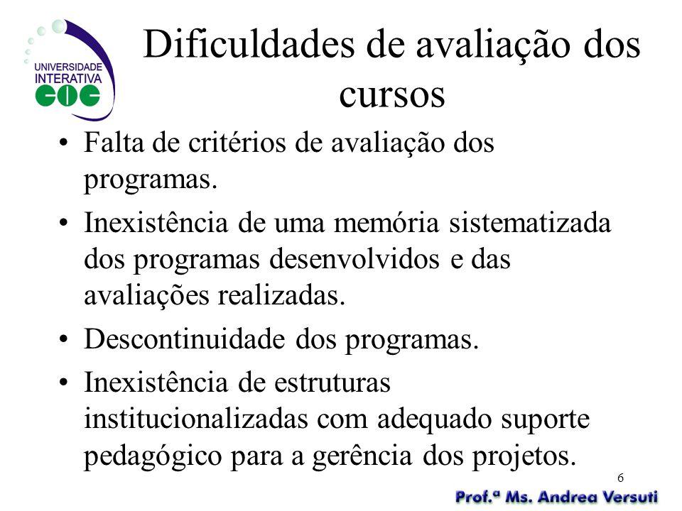 Dificuldades de avaliação dos cursos