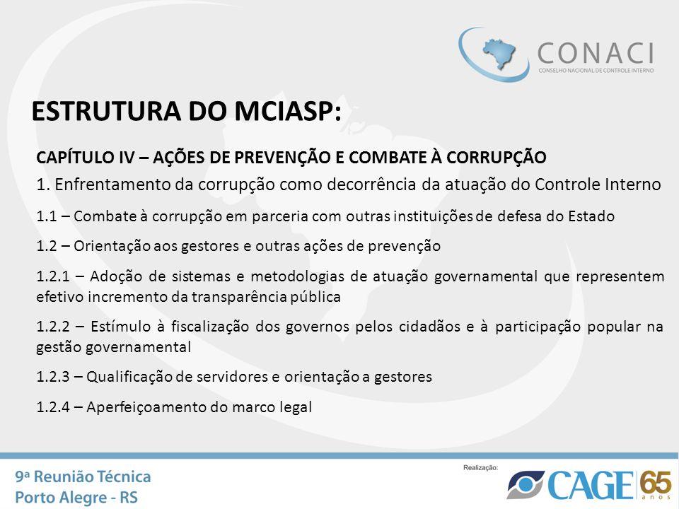 ESTRUTURA DO MCIASP: CAPÍTULO IV – AÇÕES DE PREVENÇÃO E COMBATE À CORRUPÇÃO.