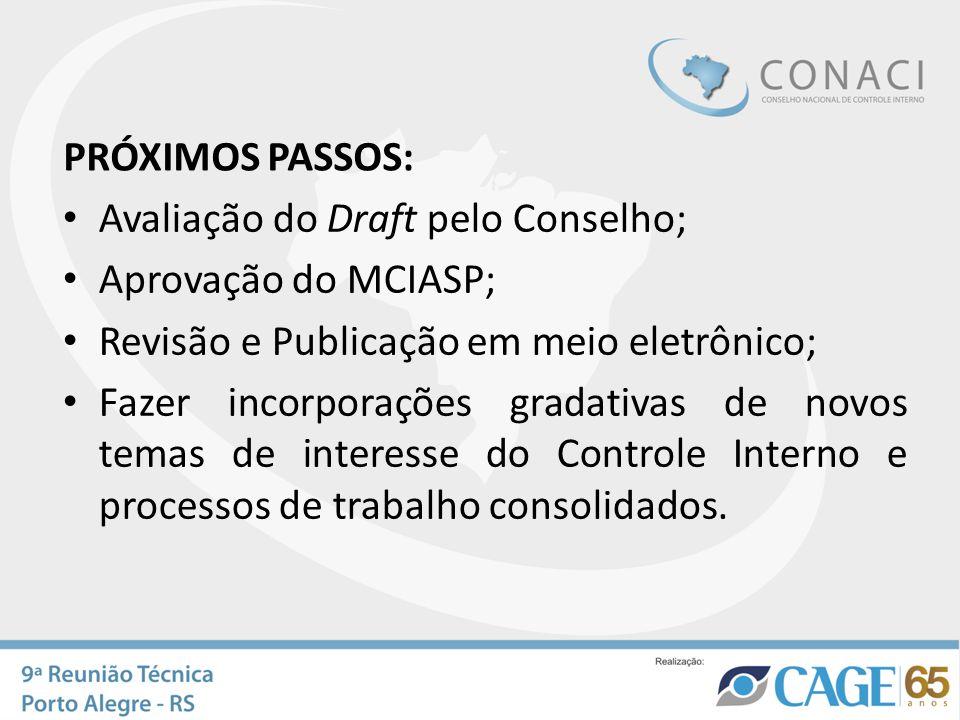 PRÓXIMOS PASSOS: Avaliação do Draft pelo Conselho; Aprovação do MCIASP; Revisão e Publicação em meio eletrônico;