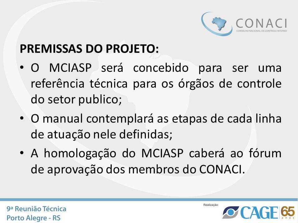 PREMISSAS DO PROJETO: O MCIASP será concebido para ser uma referência técnica para os órgãos de controle do setor publico;
