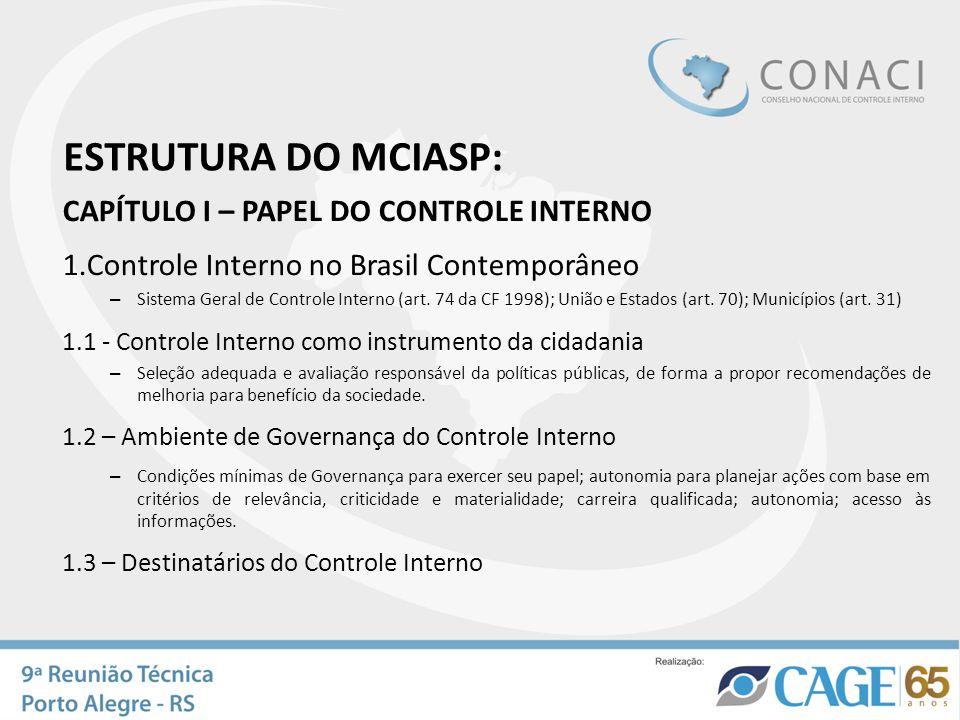 ESTRUTURA DO MCIASP: CAPÍTULO I – PAPEL DO CONTROLE INTERNO