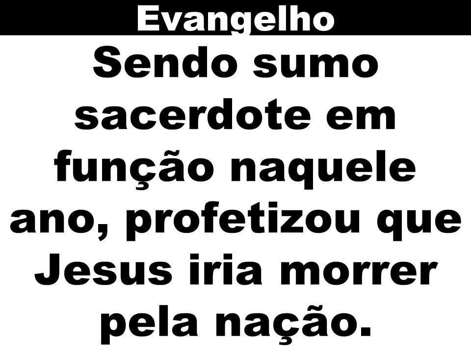 Evangelho Sendo sumo sacerdote em função naquele ano, profetizou que Jesus iria morrer pela nação.