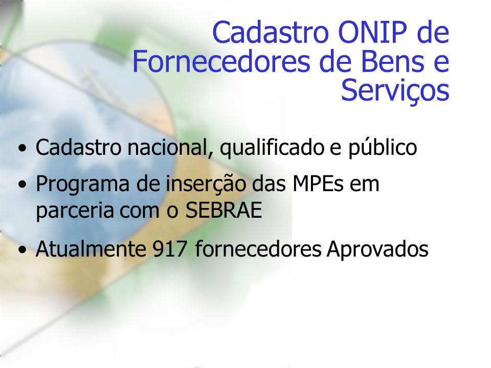 Cadastro ONIP de Fornecedores de Bens e Serviços