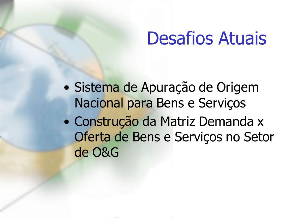 Desafios Atuais Sistema de Apuração de Origem Nacional para Bens e Serviços.