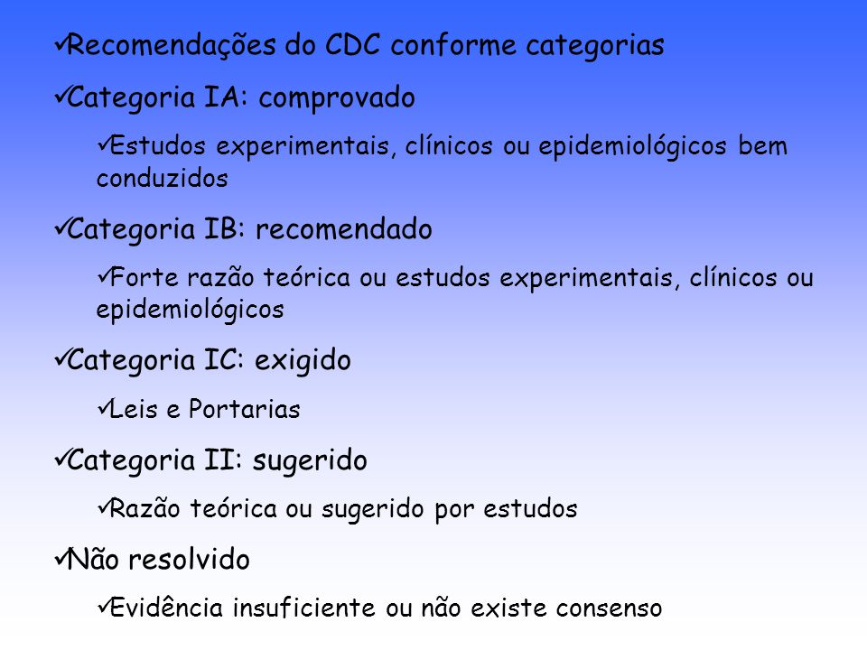 Recomendações do CDC conforme categorias Categoria IA: comprovado