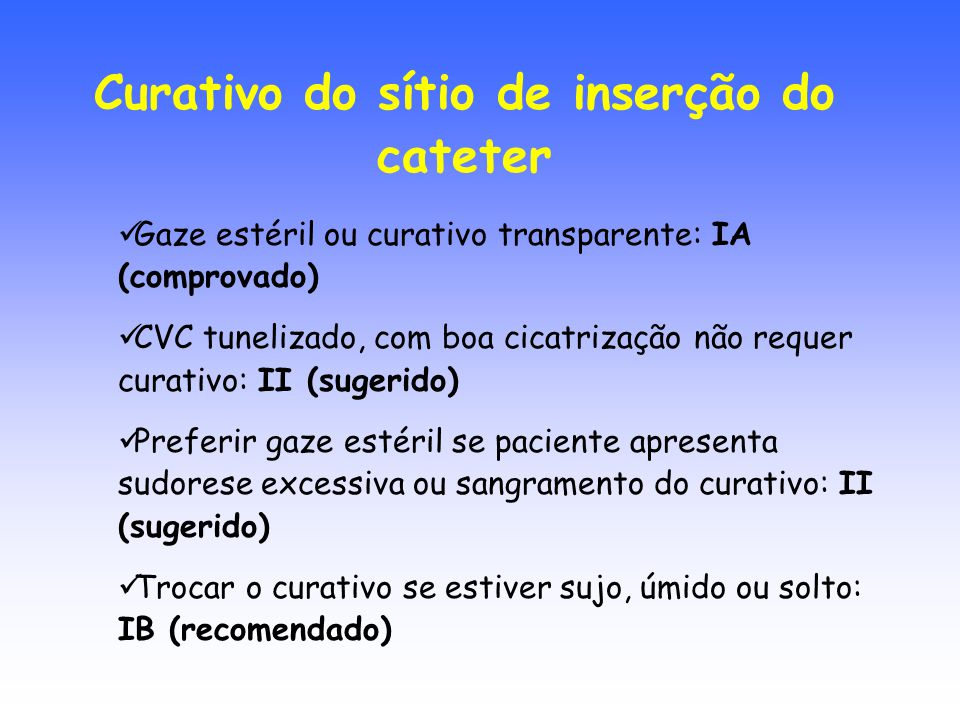 Curativo do sítio de inserção do cateter