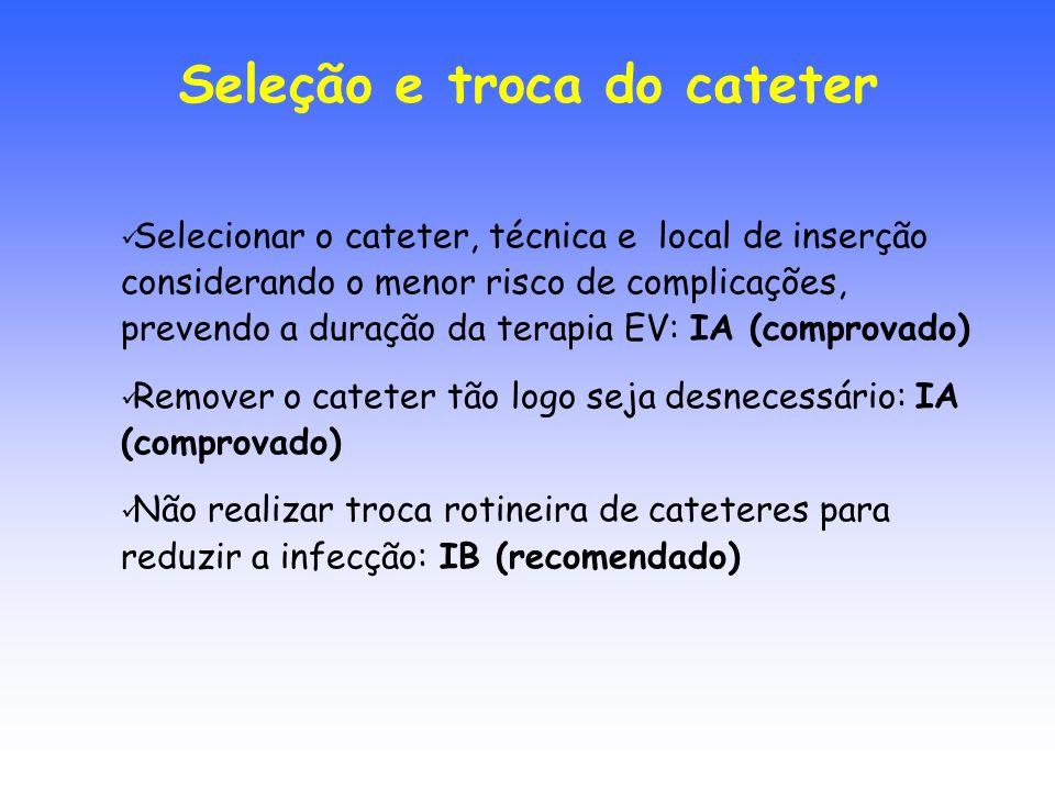 Seleção e troca do cateter