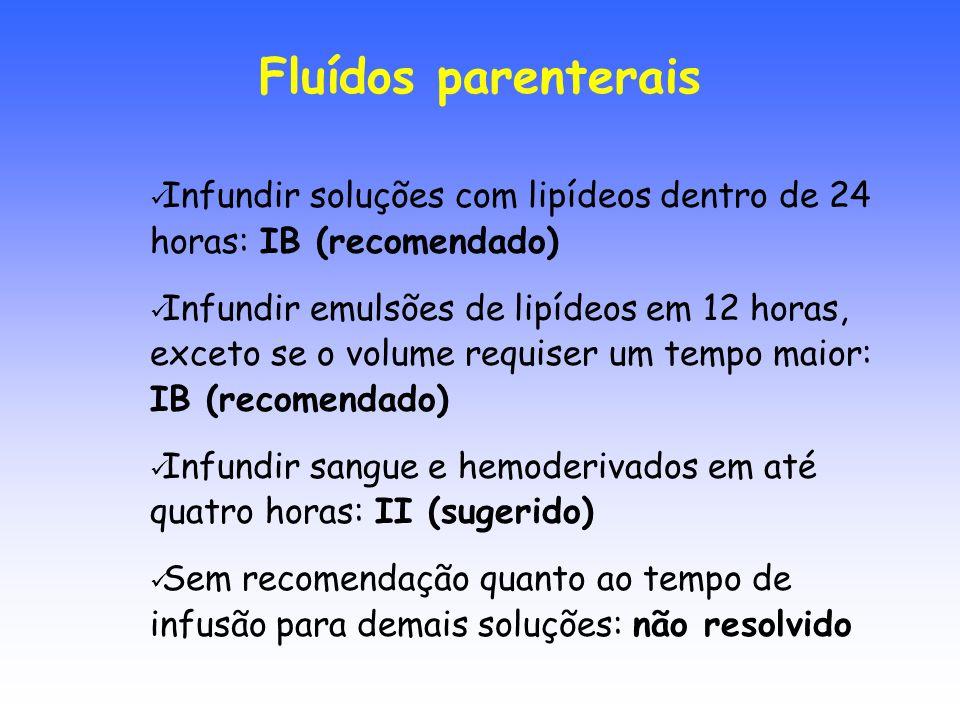 Fluídos parenterais Infundir soluções com lipídeos dentro de 24 horas: IB (recomendado)