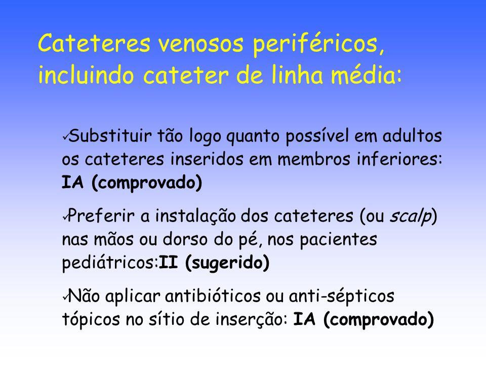 Cateteres venosos periféricos, incluindo cateter de linha média: