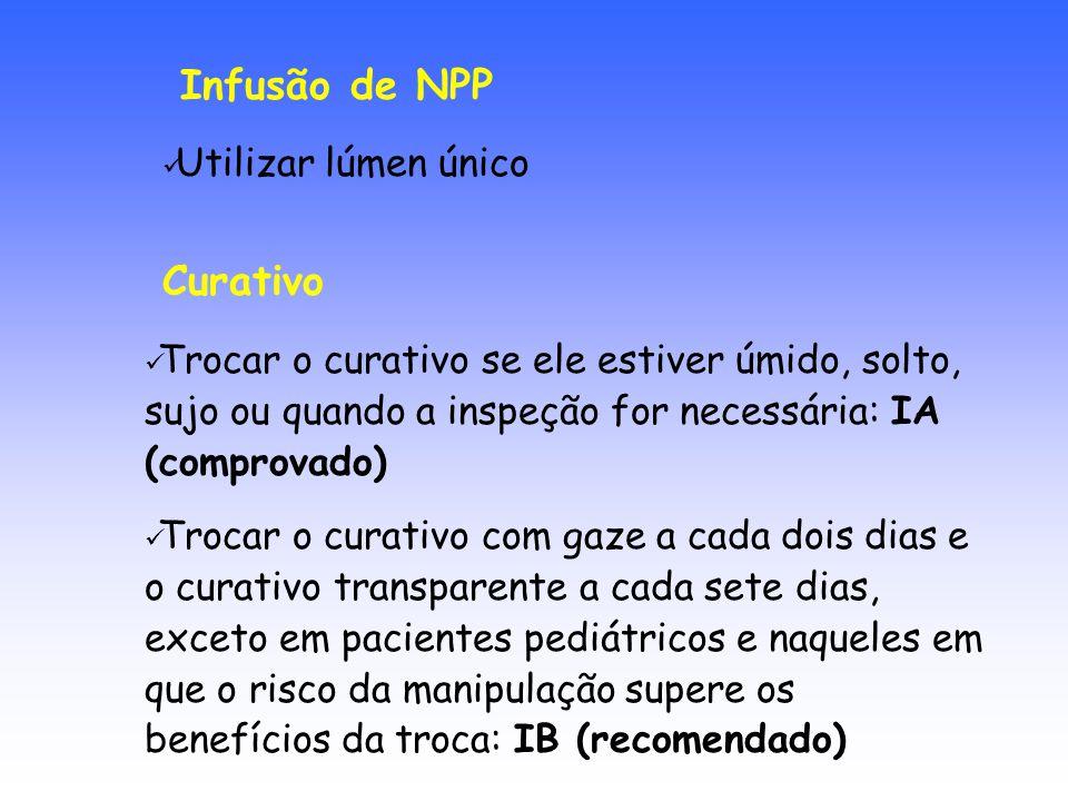 Infusão de NPP Curativo Utilizar lúmen único