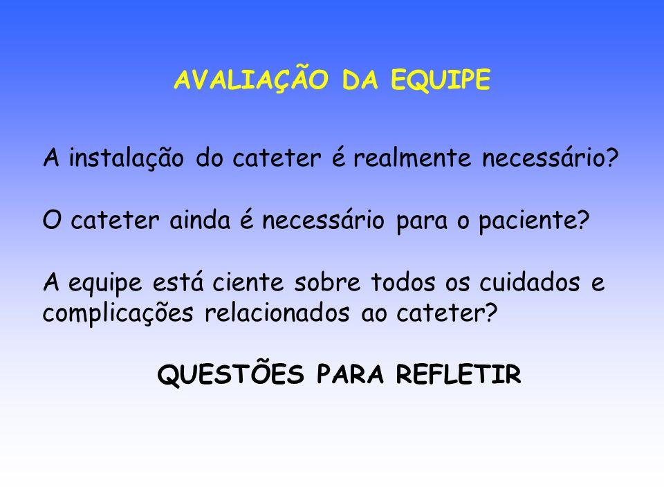 AVALIAÇÃO DA EQUIPE A instalação do cateter é realmente necessário O cateter ainda é necessário para o paciente