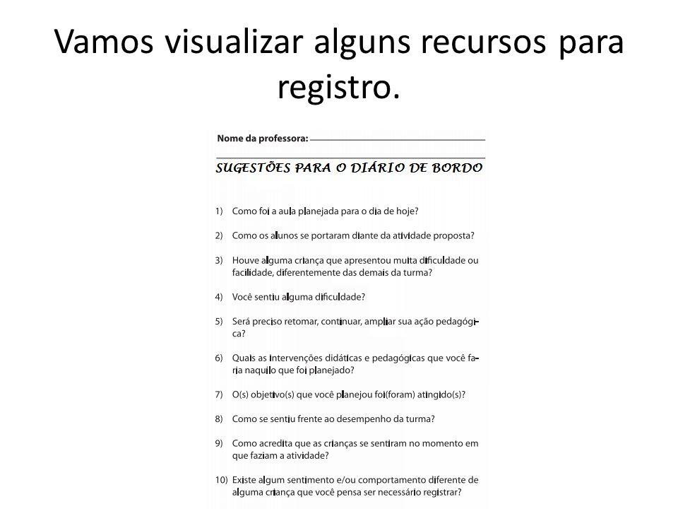 Vamos visualizar alguns recursos para registro.