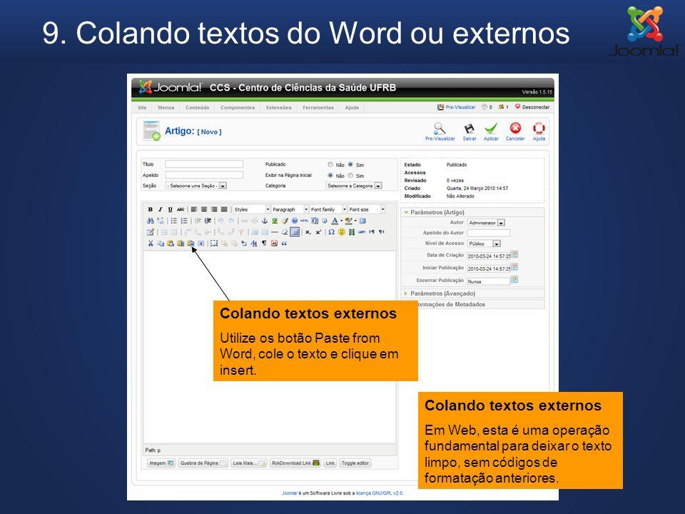 9. Colando textos do Word ou externos