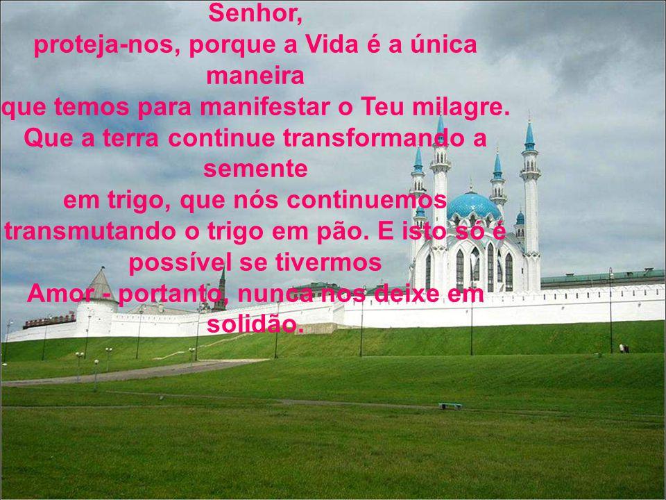 Senhor, proteja-nos, porque a Vida é a única maneira que temos para manifestar o Teu milagre.